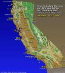Map- Current Barometric Pressure for California