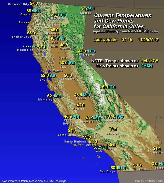 Weather California Map Current Mendocino Weather