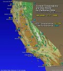 Map- Current Temp and Dew Points for California