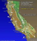 Map- Current Wind Speeds-Direction for California